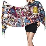 Damen-Schal, groß, bunt, Graffiti, weich, Kaschmir-Gefühl, Pashmina-Schal