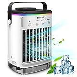 Mobile klimageräte, BASEIN Air Cooler, 4 in 1 Persönliche Klimaanlage, Luftkühler, Luftbefeuchter und Luftreiniger, USB mini luftkühler mit wasserkühlung, 4 Windstärke und buntes LED-Stimmungslicht
