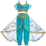 Cozyhoma Jasmin-Kostüm, arabisches Prinzessinnenkleid mit Pailletten, Prinzessinnen-Kostüm, Halloween, Party, Kostüm für Mädchen