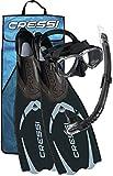 Cressi Pluma / Pluma Bag - Premium Flossen Set, Schwarz/Silber - Schnorchel Set, 43/44