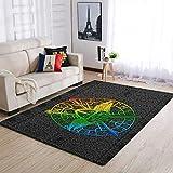 Twelve constellations Viking Tattoo Teppich Retro Modern leicht zu waschen - Schlafzimmerteppich for Ferienhaus White 91x152cm