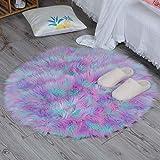 HEQUN Faux Lammfell Schaffell Teppich, Lammfellimitat Teppich Longhair Fell Optik Nachahmung Wolle Bettvorleger Sofa Matte (Grün+Rosa+lila, 90 X 90 cm)