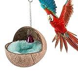 Vogelnest aus natürlichem Kokosnuss Muschel für Papageien Sittiche Nymphensittiche Wellensittiche, Kanarienvögel Finken Hamster Ratte Mäuse Chinchillakäfig Spielzeug Nistk