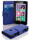 Cadorabo Hülle für Nokia Lumia 630/635 in KÖNIGS BLAU – Handyhülle aus Strukturiertem Kunstleder mit Standfunktion und Kartenfach – Case Cover Schutzhülle Etui Tasche Book Klapp Style