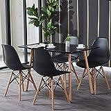 H.J WeDoo Essgruppe mit Esstisch und 4 Essstühlen, Moderner Rechteckig Tisch mit 4 Schwarz Skandinavisch Stühle für Esszimmer, Küche & W