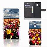 B2Ctelecom Tasche PU Leder kompatibel für Samsung Galaxy J7 (2018) Handyhüllen Tulpen - Geschenkideen Für Frauen
