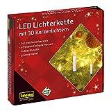 Idena 38192 - LED Kerzenlichterkette mit 30 LED in warmweiß, 30 Kerzen mit Klemmen, mit Netzstecker, ca. 16 m lang, für den Innenbereich, als Deko für den Weihnachtsbaum und Weihnachtsstrauß