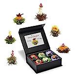 Creano 6 Teeblumen Geschenkbox schwarzer, weißer & grüner Tee, in edeler Magnetbox mit Siberberprägung, 6 verschiedene Sorten, Geschenk zu Ostern