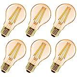 LVWIT Vintage LED Birne im Retro Stil zur Stimmungsbeleuchtung E27 A60 Edison Glühbirne, 6.5W 650 Lumen ersetzt 51 Watt, 2500K Warmweiß, flimmerfrei, nicht dimmbar, 3 Jahre Garantie, 6er Pack
