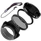 LUMOS Premium Kamera Zubehör 55mm Filter Set - zirkularer Polfilter Slim UV Filter - optisches Glas - Gegenlichtblende Objektivdeckel - effektiver Schutz der 55 mm F