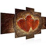 Runa Art - Bilder Herzen Holz 200 x 100 cm 5 Teilig XXL Wanddekoration Design Braun Rot 104151a