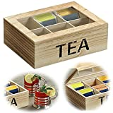 LS-LebenStil Vintage Holz Teebeutel-Aufbewahrungsbox 6 Fächer Braun Teebox Teekiste Tee-Kasten