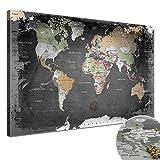 """LANA KK - Weltkarte Leinwandbild mit Korkrückwand zum pinnen der Reiseziele – """"Weltkarte Graphit"""" - deutsch - Kunstdruck-Pinnwand Globus in schwarz, einteilig & fertig gerahmt in 80x60cm"""