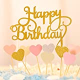 Happy Birthday Kuchendekoration Cake Toppers Kuchen Deko (Gold+ Rosa)