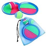 Aneco Paddel-Wurf- und Fangball-Set Spielzeug Self Stick Paddelspiel für Sport, Strand mit Aufbewahrungstasche, 2 Paddeln und 2 Bällen