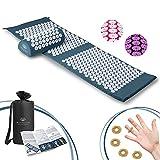 BUONSON Akupressur-Set XXL 2021 mit FREI 5 Akupressur Ring + Tasche + Poster Akupressurmatte zur Entspannung von Rücken, Kopf, Nacken Akupunkturmatte (blau)