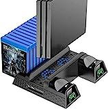 OIVO PS4 Vertical Stand, PS4 Standfuß Halter mit Lüfterlicht für Playstation 4/PS4 Pro/Slim, PS4 Vertikaler Standfuß Ständer mit PS4 Controller Ladesation