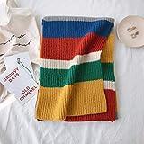 njuyd Fashion Schals Damen Wollgarn Strickschal Regenbogen Naht Farbe Streifen Einfacher Stil Einfach Match Warm Kopftuch Herbst Winter Schal Gr. 46, 4