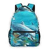 Judascepeda Multi-Freizeitrucksack,Die Unterwasser-Delfin-Korallenriff-Zeichnung, Reisesport Schultasche für erwachsene Jugendliche College-Studenten