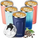 Amazon Brand - Eono Thermobecher 380ml, Wiederverwendbarer Kaffeebecher to go, Isolierbecher für Heiße und Kalte Getränke, BPA-frei und Leicht zu Reinigen, Doppelwandige Edelstahl Kaffeetasse