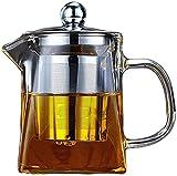 aipipl Tasse Glas Teekanne Hitzebeständig Edelstahl Filter Kamelie Teekanne Verdickung Hitzebeständig Schwarztee Teeservice Home Teetasse, 500 ml Teekanne (Thi