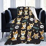 Kuscheldecke Süße süße Hunde Corgi Decke Mikrofaser Sofaüberwurf Superweich und Flauschig Fleecedecke Warm, Gemütlich, Langlebig für Bett und Sofa