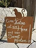 Rostalgie Edelrost Tafel mit Katze -Herz auf Vier Samtpfoten- 25 x 15 cm W