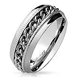 67 (21.3) Bungsa© SPINNER RING Edelstahl silber - Ring für Damen & Herren mit KETTE - drehbarer SCHMUCKRING für Frauen & Männer - EDELSTAHLRING Ketten-Ringe silb