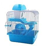 OMAORST Hamsterkäfig Nagerkäfig Mäusekäfig mit Laufrad, Futterschüssel, Wasserflasche, Häuschen und Rutsche in Blau oder Rosa, 22.5 x 29.5 x 28.5