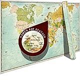 Yohmoe® Retro Weltkarte Poster XXL Vintage 140x80 cm | Landkarte Wanddeko XXL World Map Wall Poster | Wandbilder Wohnzimmer Bilder Büro Vintage Weltkarte Wand | World Map Poster Weltkarte groß