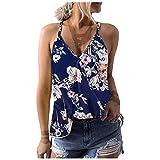 Top Damen Sommer Sexy Ärmellos Shirt Weste Blumen Drucken V Ausschnitt Bluse Vest Lose Casual Hemd Tunika Mode Camisole Tank