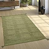 Paco Home Designer Teppich Webteppich Kelim Handgewebt 100% Baumwolle Modern Meliert Grün, Grösse:160x220 cm