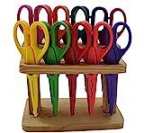 EAST-WEST Trading GmbH Jumbo DIY Bastelscheren-Set, 10-TLG. im Holzständer - mit 10 verschiedenen Schnittmustern!