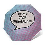 Regenschirm Taschenschirm Kompakter Falt-Regenschirm, Winddichter, Auf-Zu-Automatik, Verstärktes Dach, Ergonomischer Griff, Schirm-Tasche, Zitat 532