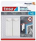 tesa Klebenagel für Tapeten und Putz 1kg - Selbstklebende Nägel für empfindliche Oberflächen - rückstandslos - Bis zu 1kg Halteleistung pro Nagel - 2 Klebenägel