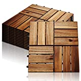 Hengda 11-er set Holzfliesen 30x30cm Akazienholz Balkonfliesen, Perfekt fliese für Deck Garten Balkon Terrasse(12 Latten | 1 m²)
