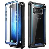 i-Blason Hülle für Samsung Galaxy Note 8 Case 360 Grad Handyhülle Bumper Case Transparent Schutzhülle Clear Cover [Ares] mit integriertem Displayschutz, Blau - 6.7 Zoll