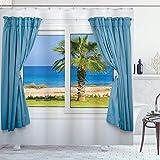 N \ A Palmen-Duschvorhang, Wände, sonniger Tag, Ufer Palme, Inselblick, Horizont, Bad-Set mit Haken, 182,9 cm lang