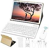 10'' Tablet 4 GB RAM 64 GB SSD ROM WiFi + Dual-SIM Lte Android 10 Pro GOODTEL Tablette Dual-Kamera 5 + 8 MP | WiFi | IPS | Bluetooth | MicroSD 4-128 GB | FM | mit Bluetooth Tastatur und Maus, Roségold