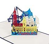 3D KARTE'Hamburg Skyline' in blau I Pop Up Karte als Reisegutschein, Grußkarte, Glückwunschkarte, Geburtstagskarte I Klappkarte als Souvenir