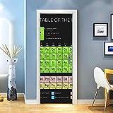 SDSONIU 3D Türaufkleber Grün Chemie Element Lernen 77X200Cm Fototapete Türfolie Poster Tapete PVC wasserdichte Selbstklebende Abnehmbare Wandbilder Für Schlafzimmer Bad Büro Dekoration