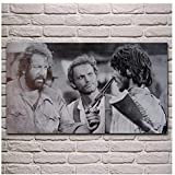 RZHSS Alte Filme Kunstwerk Terence Hill Bud Spencer Leinwand Malerei Wohnzimmer Dekor Home Wandkunst Dekor -20X30 Zoll Ohne Rahmen