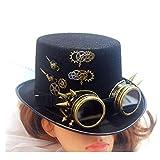 SSHZJUS Männer Frauen Steampunk Zylinder Mit Zahnrad Brille Magischer Hut Metal Gear Hut Performance Hut Cosplay Hut Größe 57 cm (Color : Schwarz, Size : 57cm)