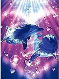 DIY 5D Diamant Malerei,Delfin,Vollrunde Diamant-Stickerei-Kreuzstich-Diamant-Kunst-Bild Strass-Wand-Dekor40x50cm