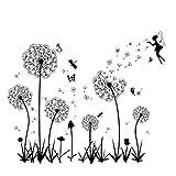 Schwarz Wandtattoo Pusteblumen für Wanddeko Groß Löwenzahn Blumen Pflanzen Wandsticker Wandaufkleber Kleben Aufkleber Wandbilder für Wohnzimmer Schlafzimmer Vorraum Flur Fenster 160X130