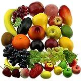 Gresorth 30 Fruchts Dekorativ Realistic Künstlich Frucht Fälschung Zitrone Banane Apfel Traube Pfirsich B