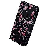 Herbests Kompatibel mit Samsung Galaxy A10 Hülle Leder Flip Case Handy Schutzhülle Ledertasche Klapphülle Brieftasche Handytasche kratzfestes Wallet Case Magnet Ständer,Rosa Kirschblüte