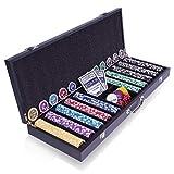 SONLEX Edler 500 Chip Pokerkoffer aus Holz schwarz, Designer-Laserchips inkl. 2 Kunststoff-Karten Decks Buttons Casino-Würfel