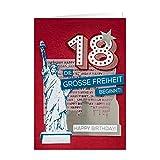 GRUSS & CO 90219 XL Grußkarte Geburtstag, Karte 18. Geburtstag, Die große Freiheit beginnt, 42 cm x 30 cm,