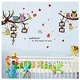 Wandtattoo Verliebte Eulen auf Ästen mit Bilderrahmen - Wandbild: 151x80 cm - Kinderzimmer Wandsticker Eule auf Zweig in PVC
